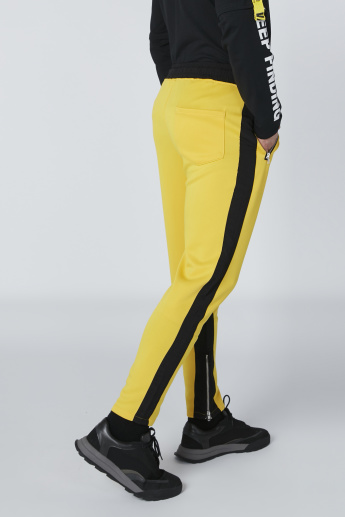 Tape and Zip Detail Track Pants with Drawstring