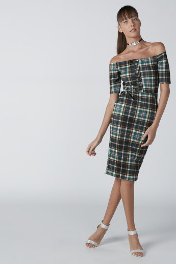 Chequered Off Shoulder Bodycon Midi Dress with Pocket Detail