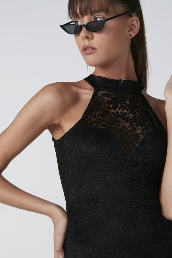 Lace Bodycon Midi Dress with Halter Neck