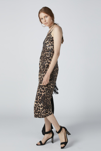 3/4 Length Jumpsuit with Spaghetti Straps and Animal Print