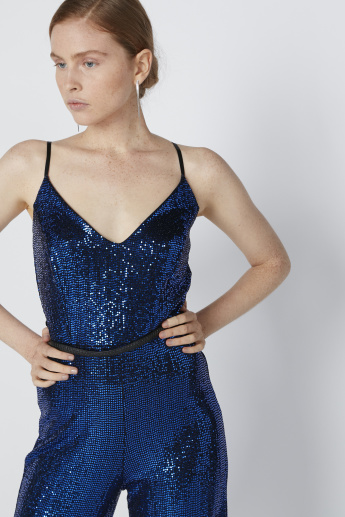 Embellished Jumpsuit with V-Neck and Spaghetti Straps