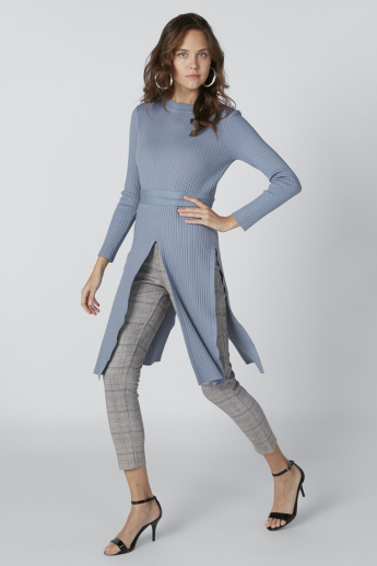 Textured Tunic with Long Sleeves and Tie Detail