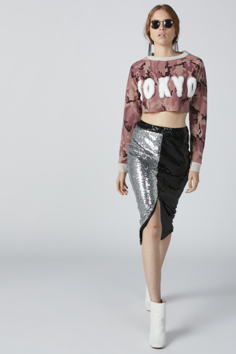 Printed Crop Sweatshirt with Plush Detail and Long Sleeves