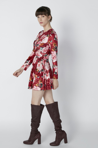 Floral Printed Skater Dress with Long Sleeves
