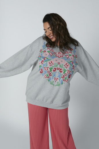 Floral Printed Sweatshirt with Long Sleeves