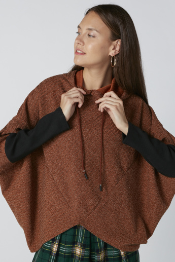 Textured Asymmetric Sweatshirt with Hood and Long Sleeves