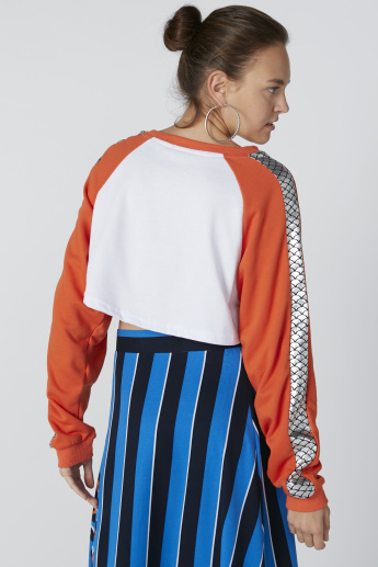 Printed Raglan Sleeves Top with Round Neck