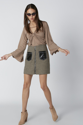 Chequered A-Line Mini Skirt with Pocket Detail and Zip Closure