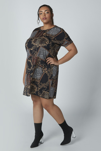 Printed Mini Dress with Extended Sleeves and Tie Up Detail