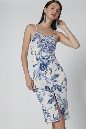 Printed Midi Bodycon Dress with Straps and Front Slit