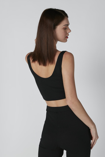 Textured Sleeveless Crop Top with Scoop Neck