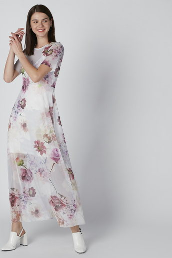 c7839df00295c Floral Printed Maxi Dress with Short Sleeves