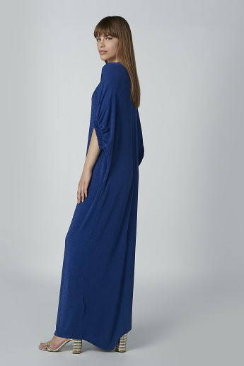 Plain Maxi Shift Dress with Extended Sleeves