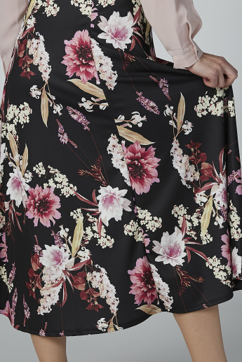 Floral Printed Midi A-line Skirt