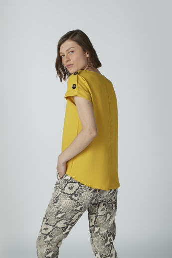 Solid Top with Extended Sleeves and Button Detail