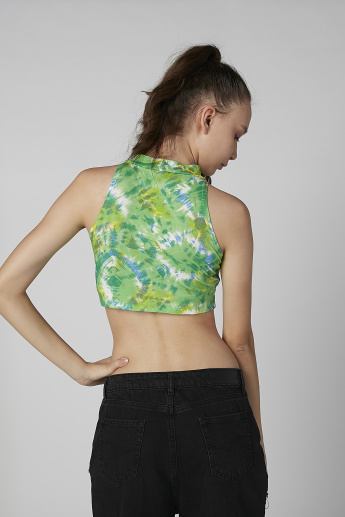 Printed Sleeveless Crop Top with Halter Neck
