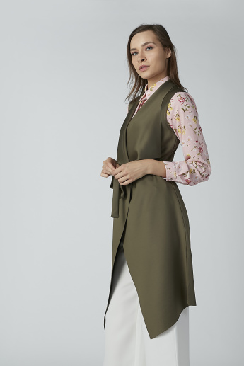 Plain Sleeveless Longline Jacket with Tie Ups