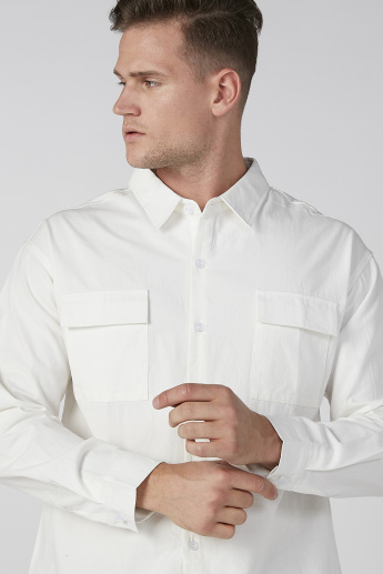 Plain Shirt with Long Sleeves and Flap Pockets