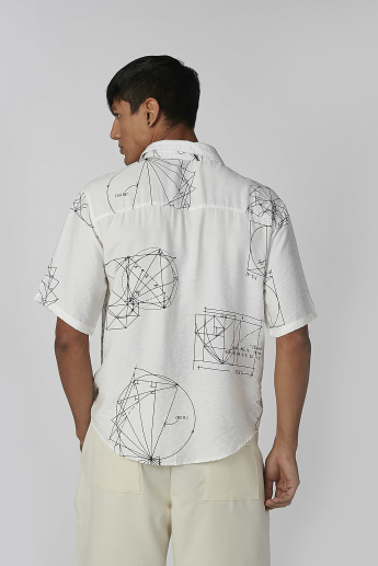 Printed Shirt with Short Sleeves and Complete Placket
