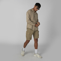 Plain Mid Waist Shorts with Pocket Detail and Belt Loops