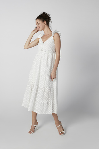Textured Midi A-line Sleeveless Dress with Smocking Detail