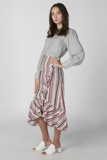 Koton Striped Midi Skirt with Ruffle Detail and Asymmetric Hem