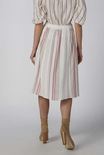 Striped A-line Midi Skirt with Front Buttons