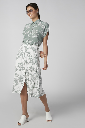 Koton Printed A-line Midi Skirt with Button and Pocket Detail