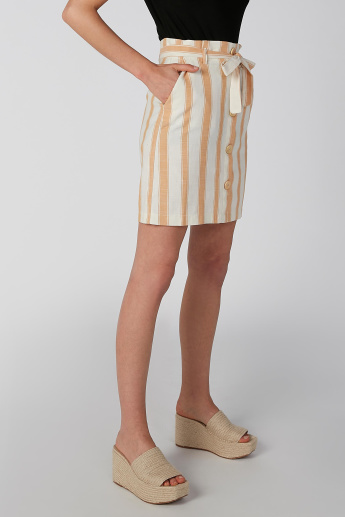 Koton Striped Mini Skirt with Tie-Up Closure and Button Detail