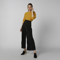 Koton Textured Palazzo Pants with Elasticised Waistband