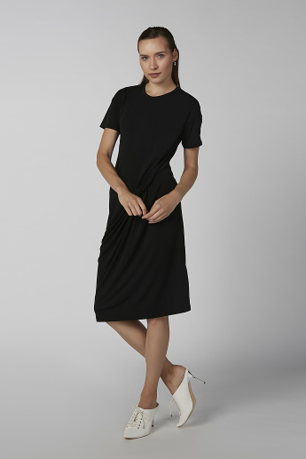 Koton Midi Shift Dress with Round Neck and Twist Detail
