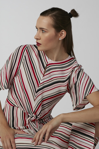 Koton Striped A-line Dress with Round Neck and Tie Ups