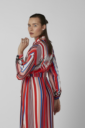 Koton Striped Midi Shirt Dress with Long Sleeves and Tie Ups