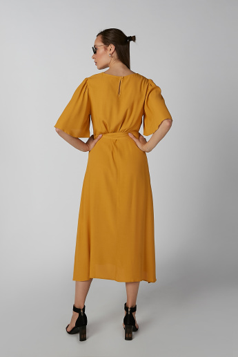 Koton Plain A-Line Midi Dress with Short Sleeves and Tie Ups