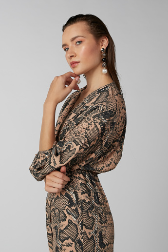 Koton Animal Print Wrap Midi Dress with 3/4 Sleeves