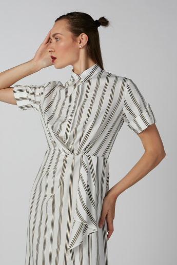 Koton Striped Midi Dress with Spread Collar and Short Sleeves