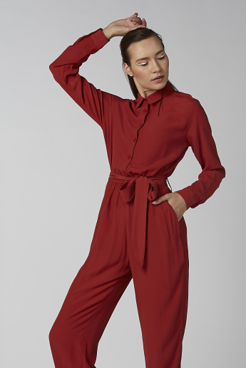 Koton Long Sleeves Jumpsuit with Pocket Detail and Tie Ups