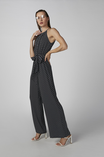 Koton Striped Sleeveless Jumpsuit with Tie Ups