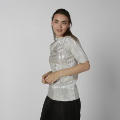Koton Textured Top with Short Sleeves and Crew Neck