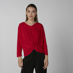 Koton Textured Top with V-Neck and Front Knot Detail