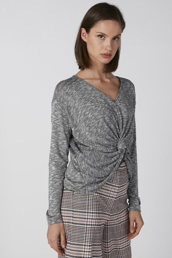 Koton Textured V-neck Top with Long Sleeves and Asymmetric Hem