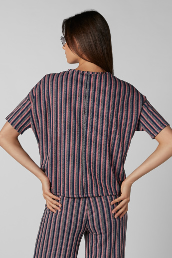 Koton Striped Top with Round Neck and Drop Shoulder Sleeves
