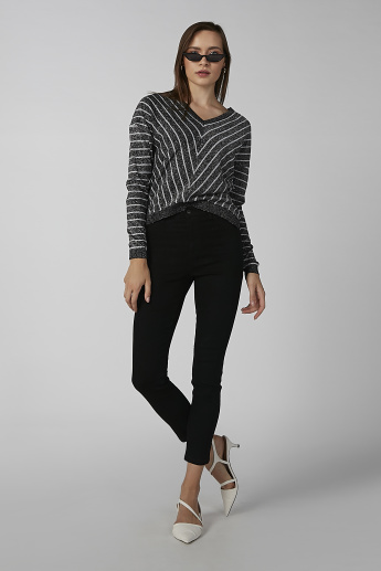 Koton Striped Sweater with V-neck and Drop Shoulder Sleeves