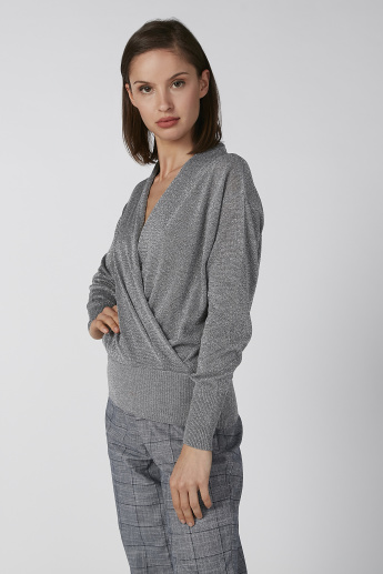 Koton Shimmery Detailed Sweater with Long Sleeves and Ribbed Hem