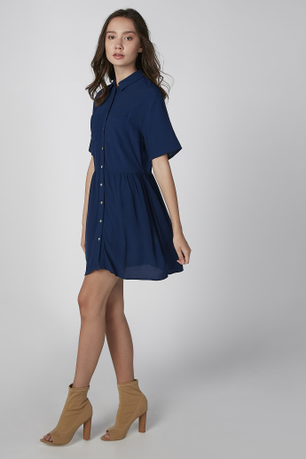 9d3d9cef742e9 Koton Plain Shirt Dress with Spread Collar and Short Sleeves | Blue