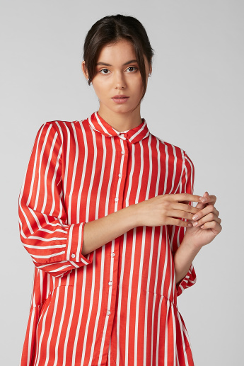 Koton Striped Shirt with 3/4 Sleeves and High Low Hem