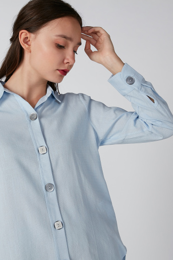 Koton Plain Shirt with Long Sleeves and Spread Collar