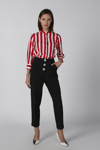 Koton Striped Shirt with Mandarin Collar and 3/4 Sleeves