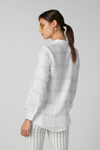 Koton Chequered Shirt with Long Sleeves and Complete Placket