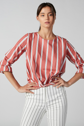 Koton Striped Top with Round Neck and 3/4 Sleeves